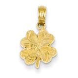 4-Leaf Clover Pendant 14k Gold Polished & Textured D4371