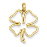 Cut Out 4-Leaf Clover Pendant 14k Gold Polished D4372