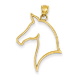 Cut Out Horse Head Pendant 14k Gold Polished D4384
