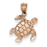 Diamond Cut Turtle Pendant 14k Rose Gold D4387