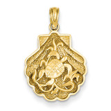 Sea Turtle in a Shell Pendant 14k Gold D4394