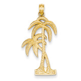 Palm Trees Pendant 14k Gold Polished & Textured D4406