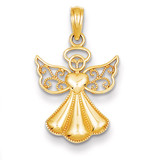 Guardian Angel with Heart Pendant 14k Gold Polished & Textured D4420