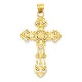 Fleur De Lis Large Cross Pendant 14k Gold D503