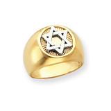 Circular Top Star of David Mens Ring 14k Two-Tone Gold D554