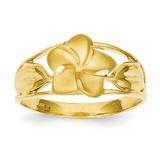 Satin & Diamond-Cut Plumeria Ring 14k Gold D572