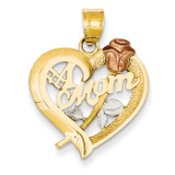 Rhodium Mom Charm 14k Two-Tone Gold D639