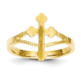 Cross Ring 14k Gold Polished D77