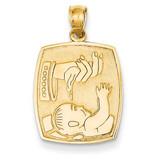 Satin & Polished Baptism Pendant 14k Gold D799