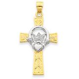 Claddagh Cross Pendant 14k Two-Tone Gold D857