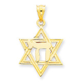Polish Chai in Star of David Charm 14k Gold Solid D893