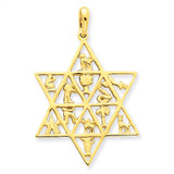 Star Of David 12 Tribes Pendant 14k Gold D894