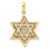Solid Open-back Meshed Star of David Charm 14K Gold & Rhodium D895