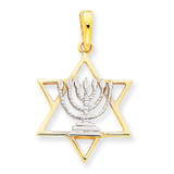 Rhodium Solid Menorah in Star of David Charm 14k Gold D896