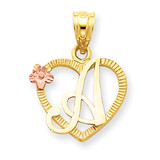 Initial A in Heart Charm 14k Two-Tone Gold D898A