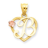 Initial B in Heart Charm 14k Two-Tone Gold D898B