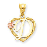 Initial D in Heart Charm 14k Two-Tone Gold D898D