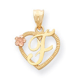 Initial F in Heart Charm 14k Two-Tone Gold D898F