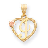 Initial I in Heart Charm 14k Two-Tone Gold D898I