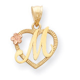 Initial M in Heart Charm 14k Two-Tone Gold D898M