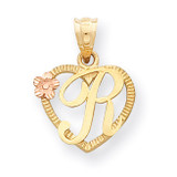 Initial R in Heart Charm 14k Two-Tone Gold D898R
