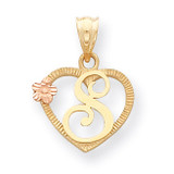 Initial S in Heart Charm 14k Two-Tone Gold D898S
