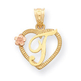 Initial T in Heart Charm 14k Two-Tone Gold D898T