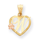 Initial W in Heart Charm 14k Two-Tone Gold D898W