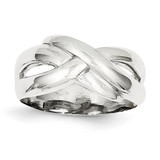 Polished X Dome Ring 14k White Gold D906