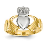 Mens Two-tone Claddagh Ring 14k Gold D97