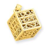 Faith & Hope Prayer Box Charm 14k Gold D986