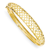 6.25-12.5mm Graduated Fancy Weave Hinged Bangle Bracelet 14k Gold DB256