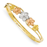 Plumeria Bangle 14k Tri-Color Gold DB448