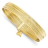Slip On 7 Bangles 14k Gold Diamond-cut DB534