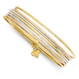 Slip On 7 Bangles 14k Tri-Color Gold DB536O