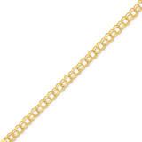 Double Link Charm Bracelet 7 Inch 14k Gold DO504-7