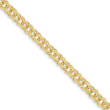 7in 5.5mm Solid Double Link Charm Bracelet 7 Inch 14k Gold DOH17-7