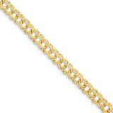 7in 6.5mm Solid Double Link Charm Bracelet 7 Inch 14k Gold DOH18-7