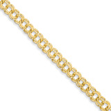8in 6.5mm Solid Double Link Charm Bracelet 8 Inch 14k Gold DOH18-8