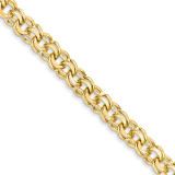 8in 8.5mm Solid Double Link Charm Bracelet 8 Inch 14k Gold DOH20-8