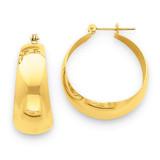 10.5mm Tapered Hoop Earrings 14k Gold Polished E674