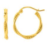 2.25mm Twisted Hoop Earrings 14k Gold Polished E849