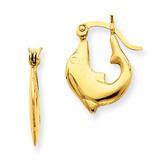 Dolphin Hoop Earrings 14k Gold Polished E870
