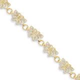 Butterfly Bracelet 7 Inch 14K Gold & Rhodium FB1049-7