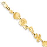 Seashore Theme Bracelet 7.25 Inch 14k Gold FB1116-7.25