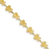Swimming Sea Turtle Bracelet 7.25 Inch 14k Gold FB1149-7.25