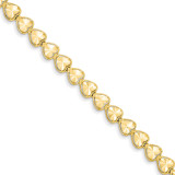 Diamond Cut Heart Bracelet 7 Inch 14k Gold FB1190-7