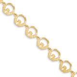 Claddagh Bracelet 7 Inch 14k Gold FB1217-7