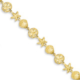 Sea Life Bracelet 7 Inch 14k Gold FB1270-7