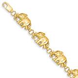 8in Diamond-cut Large Marching Elephants Bracelet 8 Inch 14k Gold FB366-8
